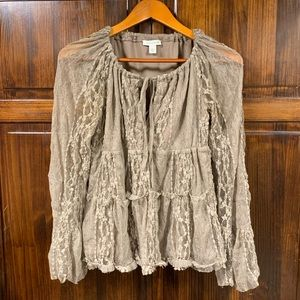 Boston Proper Lace Blouse with tie front sz small